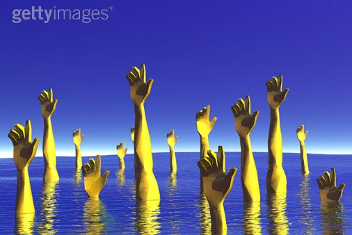 A_group_of_yellow_hands_reach_up_ou
